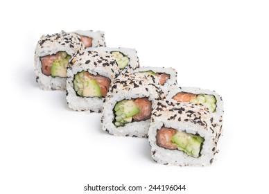 Sushi maki on white background