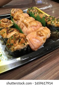 sushi mentaiko or Japanese dish of prepared vinegared rice (鮨飯, sushi-meshi), usually with some sugar and salt, and mentai