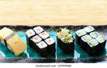 sushi mix with hosomaki, crab gunkan and tamago nigiri