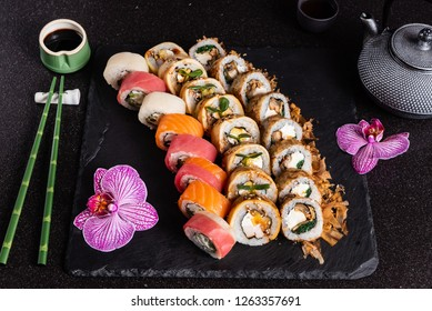 sushi on black background