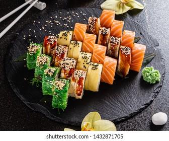 sushi on the black background