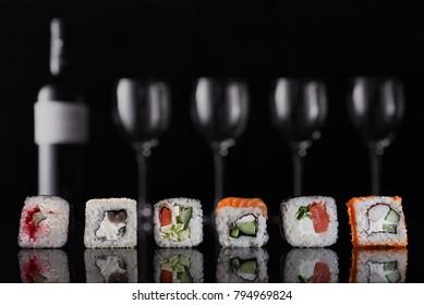 Sushi on a dark background.