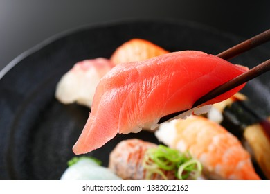 Sushi on a plate. Japanese food.