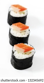 Sushi on top  crab stick , Japanese food style.