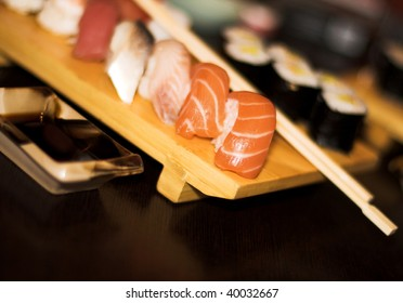 Sushi on the traditional wooden plate