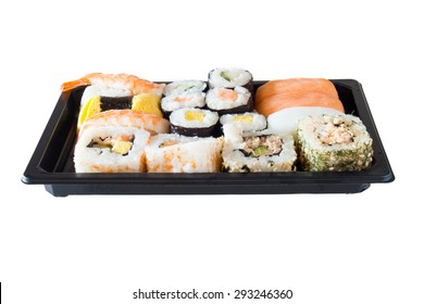 Sushi packs for supermarket in white background