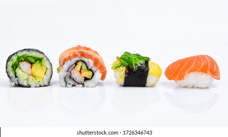 Sushi pattern on white background.Seamless pattern with sushi. Food abstract background. Sushi on the white background.Creative layout made of sushi. Flat lay. Food concept. Macro concept.