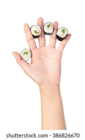 Sushi pieces collection on hand isolated on white background