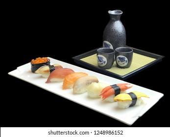 Sushi pieces with salmon, salmon egg, imitated crab meat, nigiri, and sweet egg on white plate on black background and sake drink. Sushi menu. Japanese food.