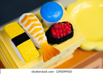 Sushi plastic toys set in Japanese and restaurant toys role game for kids.