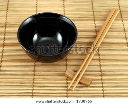 Sushi Plate Chopsticks On Bamboo Mat Stock Photo Edit Now