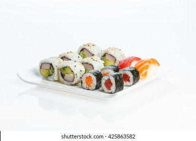 Sushi plate on white background