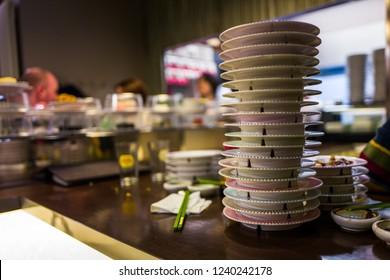 Sushi plates in Japanese Restaurant