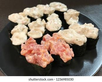 Sushi ready to eat, Japanese food background