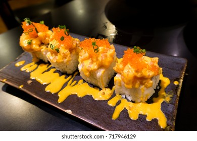 Sushi with red caviar