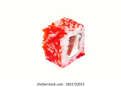 sushi with red fish caviar and cheese. cut out on a white background.