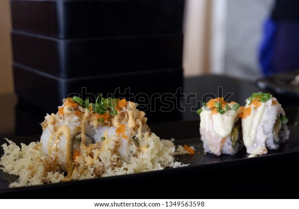 Sushi Roll Fish Eggs On Top Stock Photo (Edit Now) 1349563598
