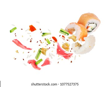 Sushi roll ingredients frozen in the air, isolated on white background