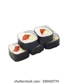 sushi roll isolated on white, vegetables