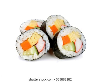 sushi roll isolated on white.