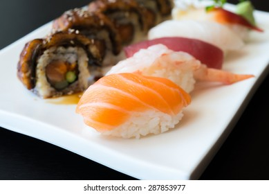 Sushi roll japanese food style - selective focus point
