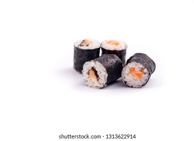 Sushi Roll, Japanese style cooking. Sushi Rice filled with various ingredients and salmon