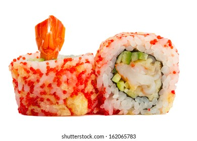 sushi roll with red caviar and tempura isolated on white background