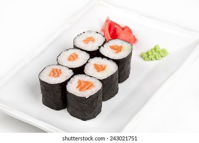 Sushi roll with salmon.