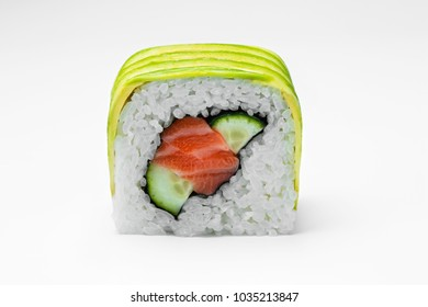 Sushi roll with salmon cucumber and avocado isolated on white