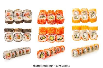 sushi roll set on white isolated background