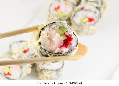 Sushi roll in tempura