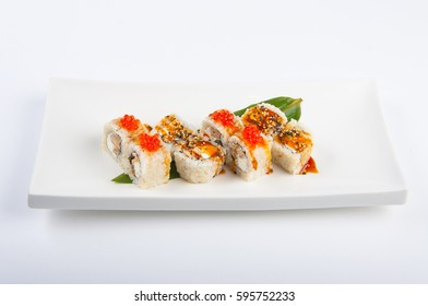 sushi roll with tuna, scrambled eggs, cream cheese and red caviar