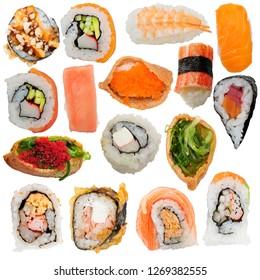 Sushi rolls assortment isolated on white background