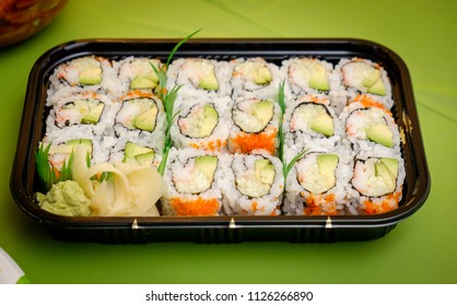 Sushi rolls in the box