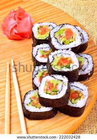 Sushi Rolls Ginger Chopstick On Bamboo Stock Photo Edit Now