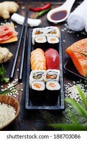 sushi rolls with sushi ingredients