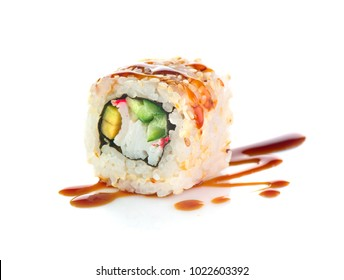 Sushi rolls japanese food isolated on white background. California Sushi roll with tuna, vegetables and unagi sauce closeup. Japan restaurant menu.