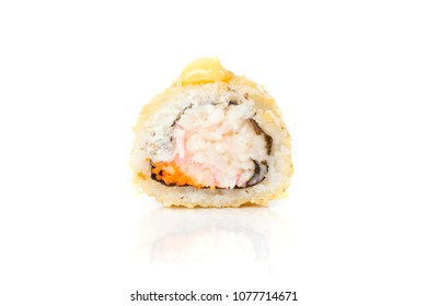 Sushi rolls japanese food isolated on white background. Maki roll closeup. Japan restaurant menu