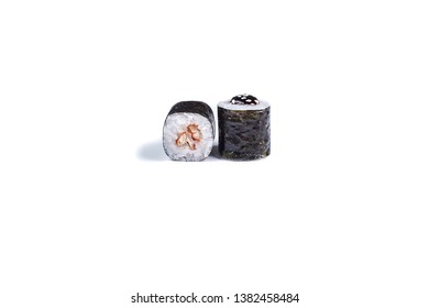 "Sushi rolls japanese food isolated on white background. Roll ""Eel"" Ingredients: Nori, eel, rice, unagi sauce, white sesame. Menu Japanese restaurant. - image"