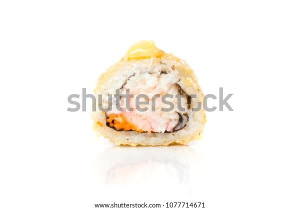 Sushi rolls japanese food isolated on white background. Maki roll closeup. Japan restaurant menu