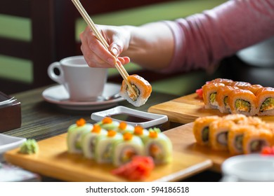 Sushi rolls on the table - close up photo