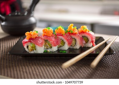 sushi rolls served in a Japanese restaurant