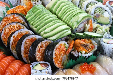 Sushi and rolls, shallow focus