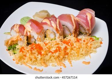 Sushi rools with tempura,japanese food/japanese cuisene