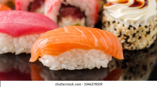Sushi with salmon. Close-up. Macro shooting.
