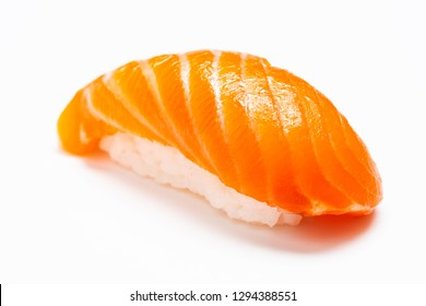Sushi, Salmon, Japanese food chopsticks with withe plate isolated