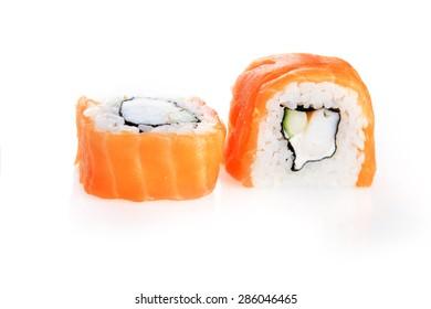 sushi with salmon on white background