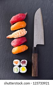 sushi with santoku knife