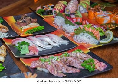 Sushi and sashimi set , Japanese style food