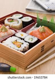 Sushi And Sashimi In A Take Away Bento Box